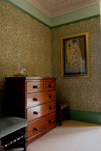 Tinto Bedroom - showing Georgian Chest of Drawers and William Morris wallpaper